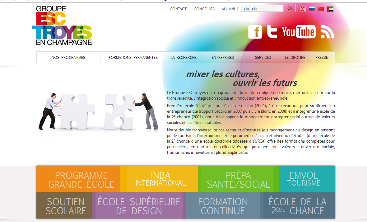 A screenshot of the website I did for Groupe ESC Troyes