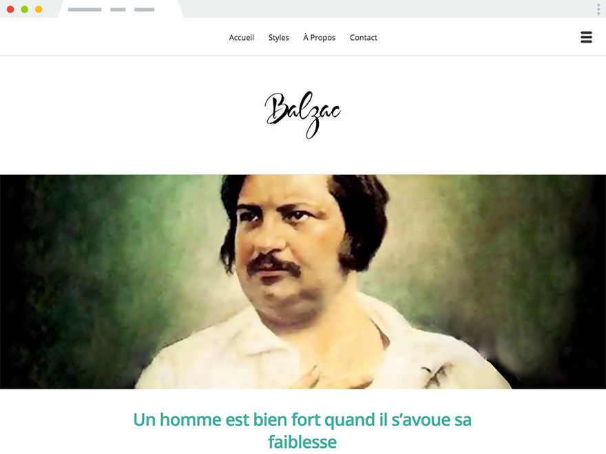 A screenshot of Balzac, our first theme