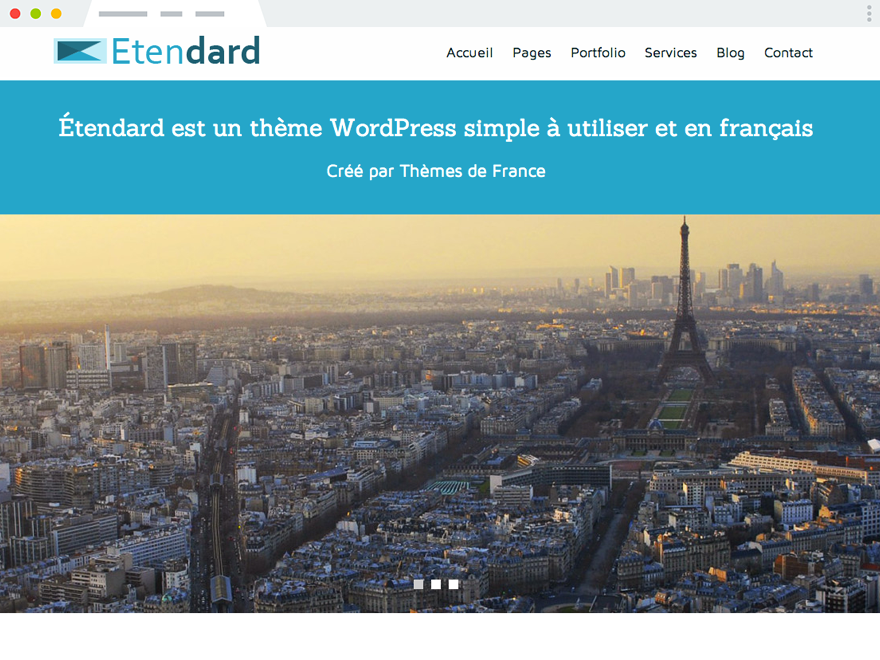A screenshot of Étendard, our first theme