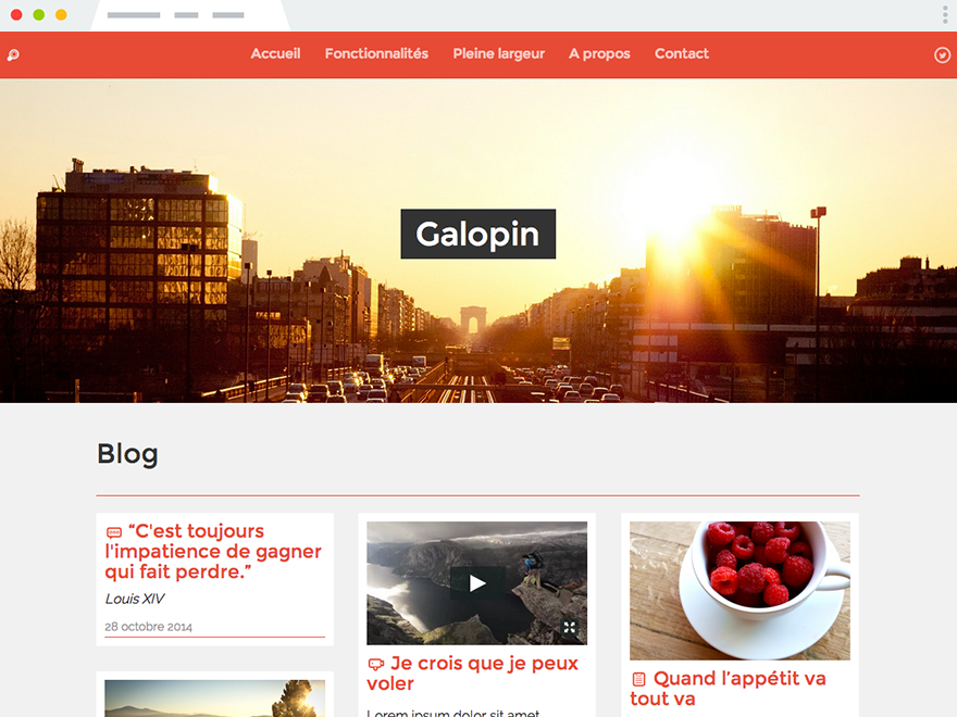 A screenshot of Galopin, our third theme